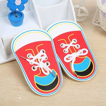 Children Wooden Toys Lacing Shoes Kids Early Baby Montessori Educational Teaching Tie