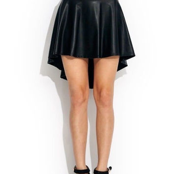 PLUS SIZE SPRING HIGH WAIST HIGH LOW SLEEK FASHION HIGH QUALITY PU FAUX LEATHER SKATER FLARED SKIRT WOMEN PLEATED SKIRT