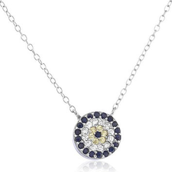 925 Sterling Silver Evil Eye with Multicolor Cubic Zirconia Stones and an 18 Inch Necklace