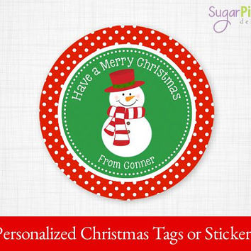 Christmas Tags, Christmas Snowman Tags, PRINTABLE Christmas Stickers, Christmas Gift tags, Christmas Party Supplies 2.5 inch Circle,