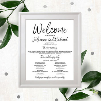 Stylish Hand Lettered Wedding Program Poster-Calligraphy Printable Wedding Program-Wedding Welcome Poster-Navy Blue Program-Personalized