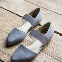Edelyn Nubuck Ballet Flat, Charcoal | Chinese Laundry