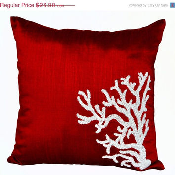 Memorial Day SALE Coral decorative throw pillow - coral reef pillow- Oceanic pillow covers- Red silk pillows - gift - Accent pillows- cushio