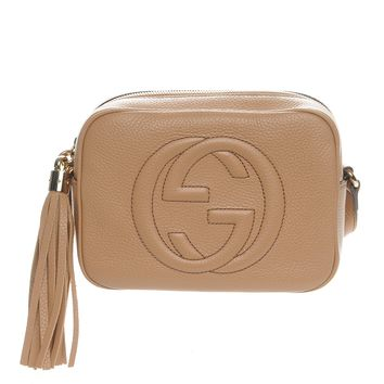 GUCCI Pebbled Calfskin Small Soho Disco Bag Rose Beige