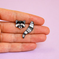 Raccoon tail and head earrings studs - Animal jewelry - wearable art jewelry