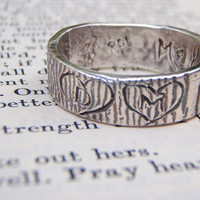 rustic woodgrain ring with carved initials in by peacesofindigo