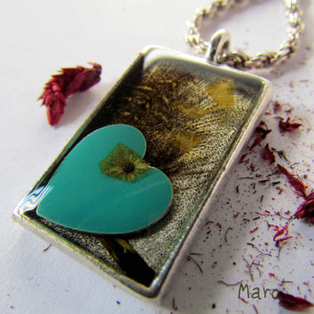 Resin Teal Heart Bezel Pendant with rope chain by SandstarJewelry
