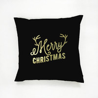 Merry Christmas Pillow, Gold Pillow, Christmas Pillow, Home Decor, Cushion Cover, Throw Pillow, Bedroom Decor, Modern Pillow, Bed Pillow