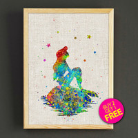 Ariel Little Mermaid Watercolor Art Print Disney Princess Poster House Wear Wall Decor Gift Linen Print - Buy 2 Get FREE - 08s2g