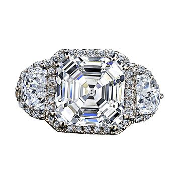 3.5CT Intensely Radiant Asscher Cut Diamond Veneer Cubic Zirconia with Halo Settings Set with Zirconite Half Moon Sides Sterling Silver Ring 635R71560