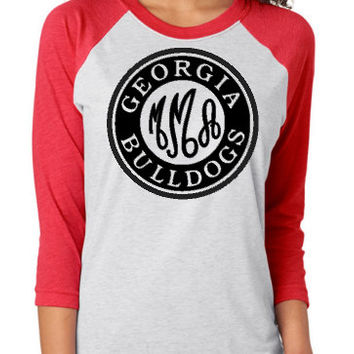 Inspired Personalized Monogram Georgia Bulldogs Raglan T-Shirt, Inspired Georgia Bulldogs Raglan T-Shirt, Monogram Georgia Bulldog T-Shirt