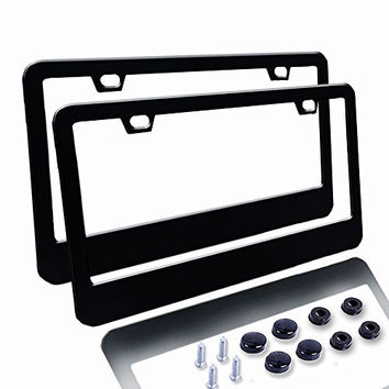 Car License Plate Frame - Matte Stainless Steel License Plate Covers with Screws Fasteners & Screw Caps (2 Pack-Black)