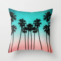 Palm Trees 3 Throw Pillow by Mareike Böhmer Photography