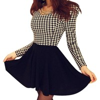Hee Grand Women Houndstooth Long Sleeve Evening Party Mini Skater Dress Black Skirt
