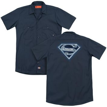 Superman - Cyber Shield (Back Print) Adult Work Shirt