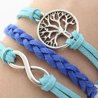 tree of life bracelet-- infinity bracelet,silver charm bracelet,blue cord, blue braid leather bracelet,MORE COLORS