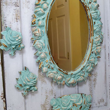 Large ornate framed wall mirror distressed sea glass green-blue roses vintage shabby chic piece Anita Spero