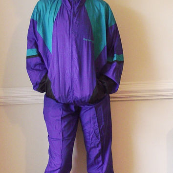 Vintage 90s Colorblock Windbreaker Track Suit Vintage Hip Hop Athletic Jogging Warm Up 1990s Tracksuit Womens Clothing Purple Teal M Medium
