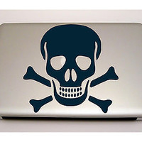 MACBOOK IPAD LAPTOP VINYL STICKER DECAL CUSTOM SIZE SKULL CROSS BONES D1442
