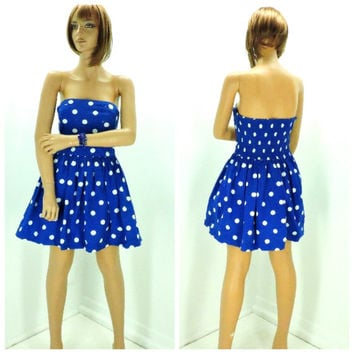 Strapless polka dot party dress M, Hollister blue / white cotton sun dress, strapless full skirt summer dress, SunnyBohoVintage