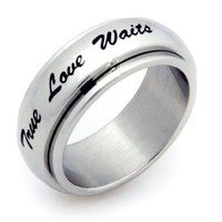 True Love Waits Spinner Ring Stainless Steel Ring Couples Jewelry Wedding Band
