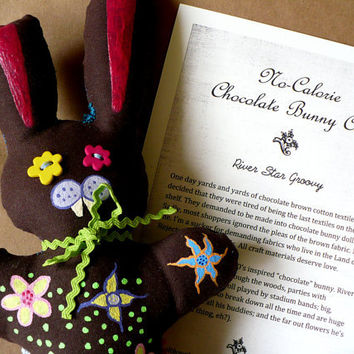 Alternative / Folk / HAB Easter Hares and Springtime Scares - No Calorie Chocolate Bunny - Cloth Doll - OOAK