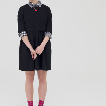 Smock Dress with Tie Waist Black - THE WHITEPEPPER
