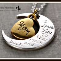 I Love You to the Moon and Back Necklace with Moon Heart Pendant ( FREE SHIPPING )