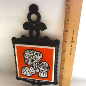 Vintage Mushroom Tile And Cast Iron Trivet 1960s Wall Hanging 9 And 1/4 Inches Long X 5 Inches Wide