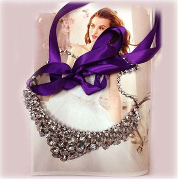 Bridesmaid jewelry Set , bridal necklace, vintage inspired statement, Purple ribbon Crystal bib necklace earrings, wedding jewelry
