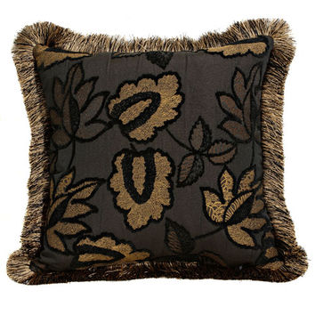 Canaan Company P-305-B 20x20 Black Accent Pillow with Brush Fringe Trim