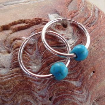 Turquoise Hoop Earrings 925 Sterling Silver