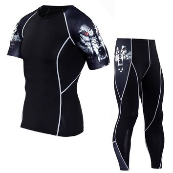 tights for men crossfit Young wolf mma rash guard Men's tight-fitting clothing short-sleeved T-shirt + trousers kit S-XXL-XXXXL