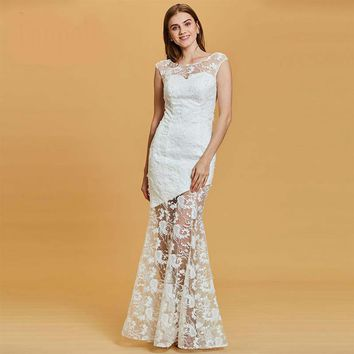 Long evening dress white lace cap sleeves floor length mermaid gown women wedding party formal evening dresses
