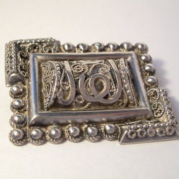 Vintage Cannetille Silver Brooch,Arabic Brooch,Islamic Brooch,Filigree Silver Brooch,Persian Brooch,Egyptian Brooch,Unusual Brooch,Silver