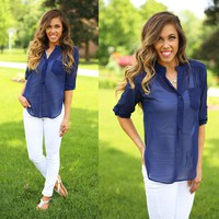 Buttoned Up Blouse in Navy