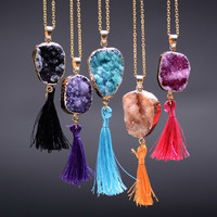 Gold Plated Amethyst Necklace Women Drusy Purple Crystal Black Quartz Slice Nature Stone Long Necklace Tassel Jewerly