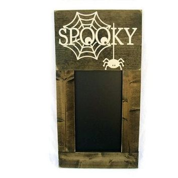 Framed Halloween Chalkboard Large Rustic Wood Wall Decor - Spooky (#1200-CB)