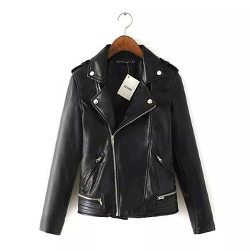 Black Zipper Pockets Notched Collar Long Sleeve Leather Jacket