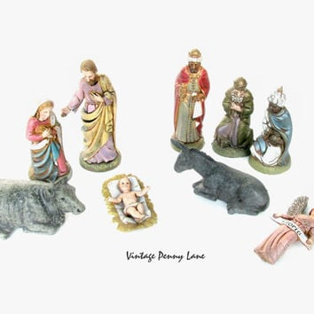 Vintage Nativity Scene Christmas Set, Home Decor / Display