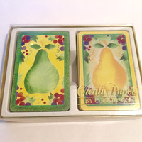 Creative Papers by C.R. Gibson Deck of Cards/Pear Deck of Cards/Vintage Deck of Cards/Majolica/Bridge, Rummy, Canasta Playing Cards