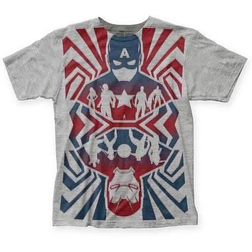 Captain America Civil War Opposing Forces Big Print T-Shirt