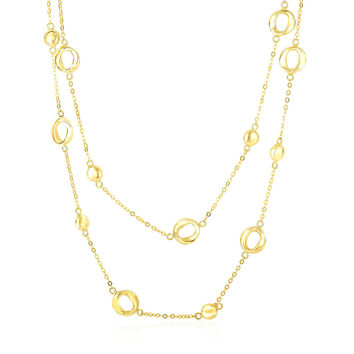 14K Yellow Gold Disc and Open Circle Stationed 2-Strand Chain Necklace