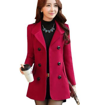 Women Winter Trench Coat 2016 New Arrival Casual Turn Down Collar Solid Color Elegant Slim Warm Coat ZY206