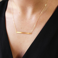 Personalized Skinny Bar Necklace / Name Bar Necklace / Customized Gold Bar Necklace