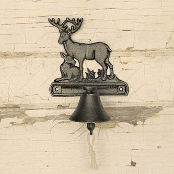 Deer Bell,Cast Iron Deer Bell,Front Door Bell,Dinner Bell,Cabin Decor,Lodge Decor,Deer Decor,Hunting Lodge Decor,Rustic Decor,Unique Deer