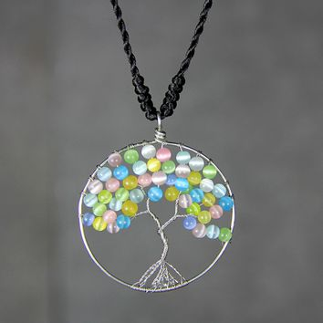 Pastel colorful cat eye tree of life branch wiring pendant necklace Free US Shipping handmade Anni Designs