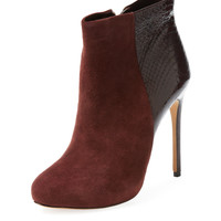 Suede & Python Ankle Bootie