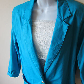 Miami Vice 80s New Wave Boyfriend Fit Blue Cotton Blazer Jacket, Tag Size M