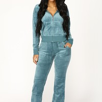 Girl Next Door Velour Lounge Set - Dusty Blue